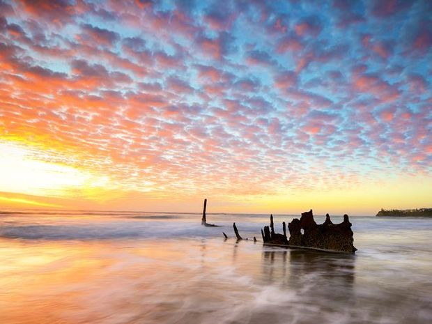The remains of the wreck of the SS Dicky near Caloundra. Photo: Brett McIntosh