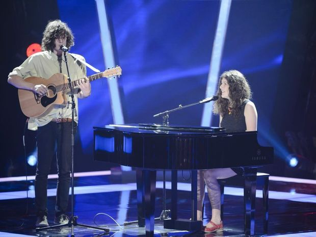 Brother and sister duo Gabriel and Cecilia Brandolini, from Clunes NSW, pictured on The Voice Australia.