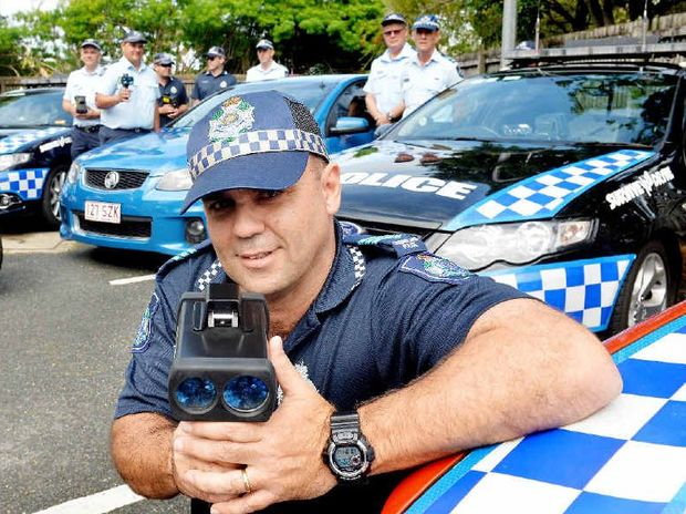 NEW DEVICE: Mackay Road Policing Unit's Sergeant Shane Edwards and the Mackay Traffic Branch trial the new speed detection devices which will be rolled out onto the streets.