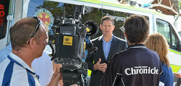 Lawrence Springborg takes on another press conference at Hervey Bay Hospital.