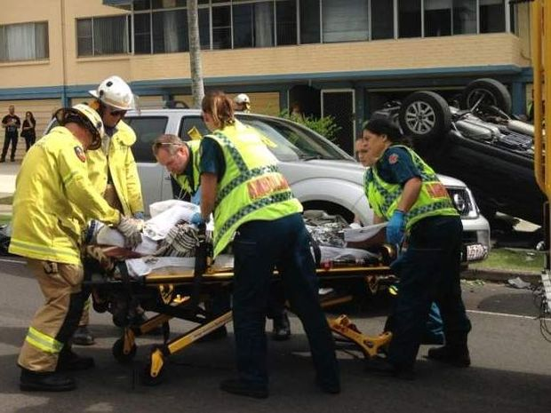 The scene of the crash in Memorial Avenue, Maroochydore on Friday.
