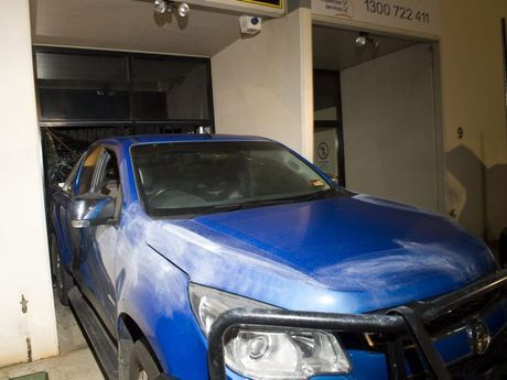 A Holden Colorado ute was used in this ram raid on DNA Motorcycles in Wilsonton Industrial Estate, Gardner Crt, Saturday, May 17, 2014. Photo Kevin Farmer / The Chronicle