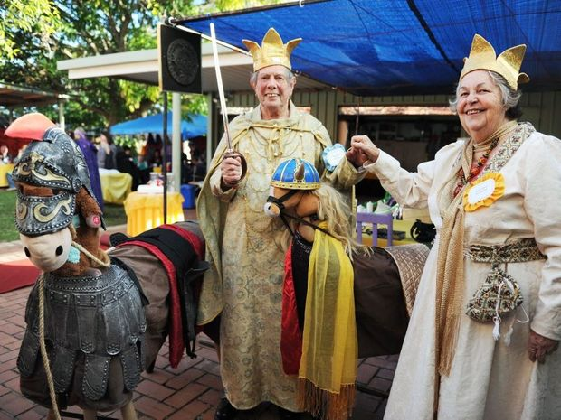 Peter and Marie Eardley-Harris celebrating their 60th wedding anniversary with a recommitment ceremony and medieval pageantry.