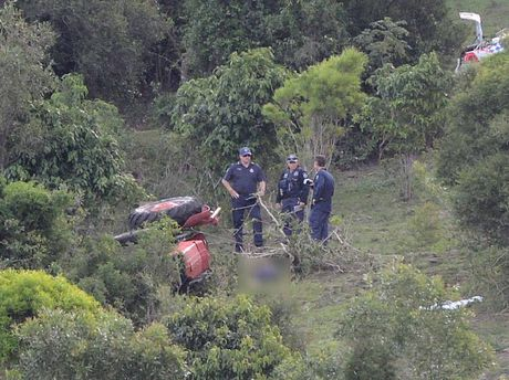 TRAGEDY: Emergency services at the Lowood property where a 65-year-old man was killed in a tractor accident.