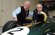 MAN AND MACHINE: Sir Jack Brabham (right), his Brabham BT23 Formula 2 car, and the car's owner, Steve Padgett.