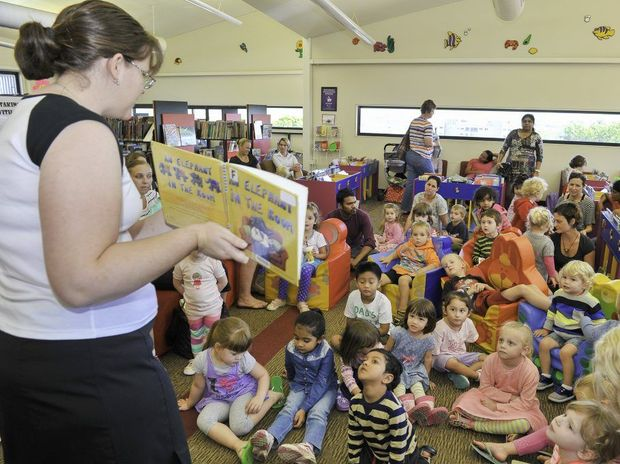 SIMULTANEOUS STORIES:Children enjoying an interactive storytime session at Gladstone Library.