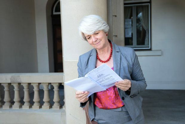 Rockhampton Mayor Margaret Strelow with the agreement which gives Rockhamton Regional Council a $17 million stake in Port Alma. Photo: Chris Ison / The Morning Bulletin