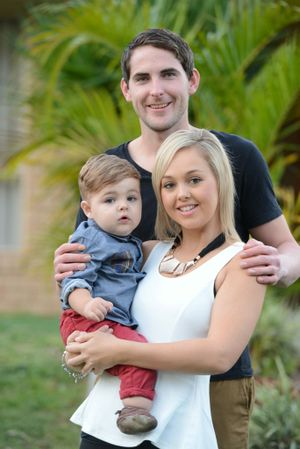 HOPE: Angela and her partner Matthew with their son Khye, 15 months, who needs surgery in the US to save his right leg.