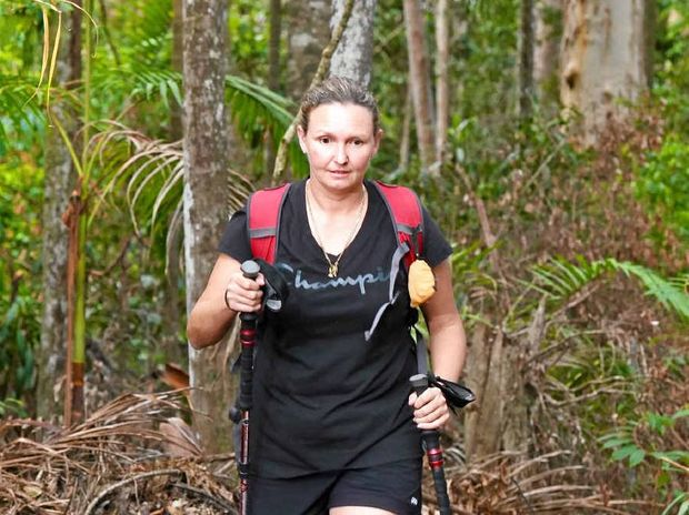 TIME TO THINK: Simone Lucas in training to complete the Kokoda Track.
