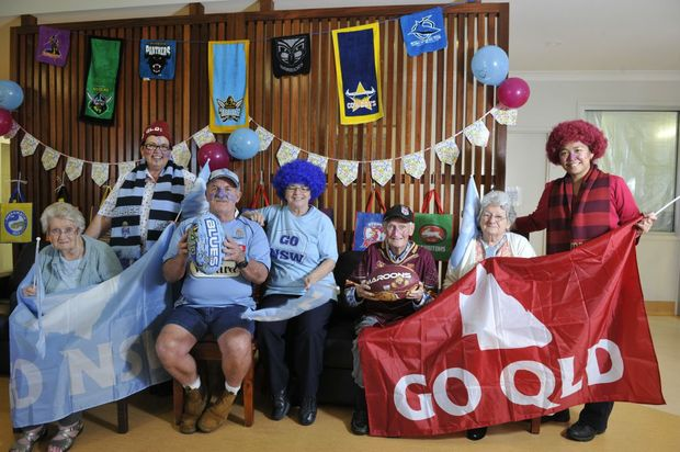 At St Joseph's at East Lismore, (From left) Phillips Winterbon, Anne-Maree Geering, John Weir, Lina Matherson, John Drew, Pat Hunter, and Runeza Carlos will all be cheering for their respective teams this year during the first State of Origin match.