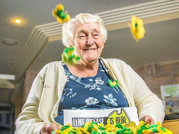 RAISING AWARENESS: Edna Fry raises awareness of Lyme Disease with her crochet butterflies.