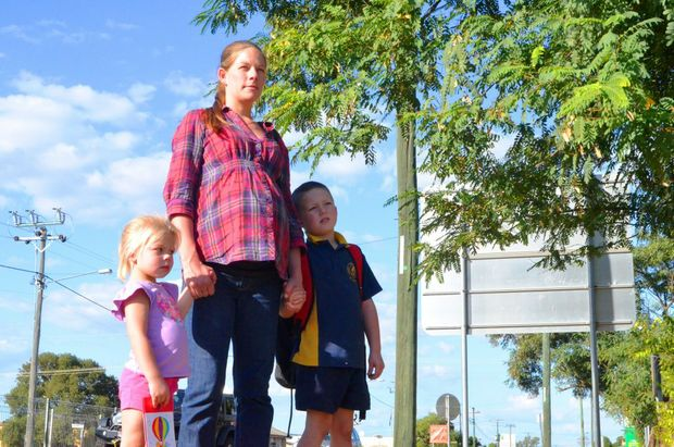 SCHOOL MOVE: Roma mother Jesse Treveton is concerned over her children's safety at the Roma State College Junior Campus.