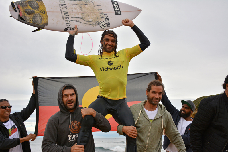 Coffs Coast surfer Otis Carey became the toast of Bells Beach when crowned Australian Indigenous champion.