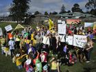 Protestors march to the world environment day activities in Lake Annand, continuing their opposition to the detention basins. Photo: Bev Lacey / The Chronicle