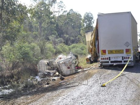 About 10,000 litres of herbicide spilled after this truck crashed on the Gore Hwy south of Toowoomba.