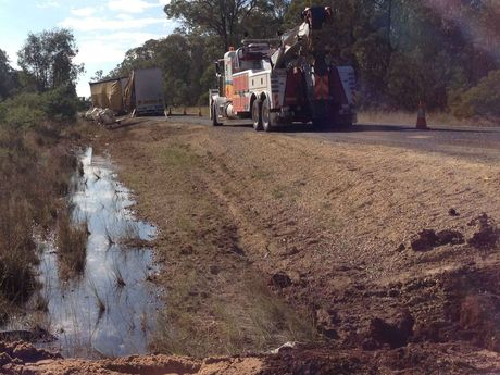 The scene of the truck crash on the Gore Hwy south of Toowoomba that caused a major chemical spill.