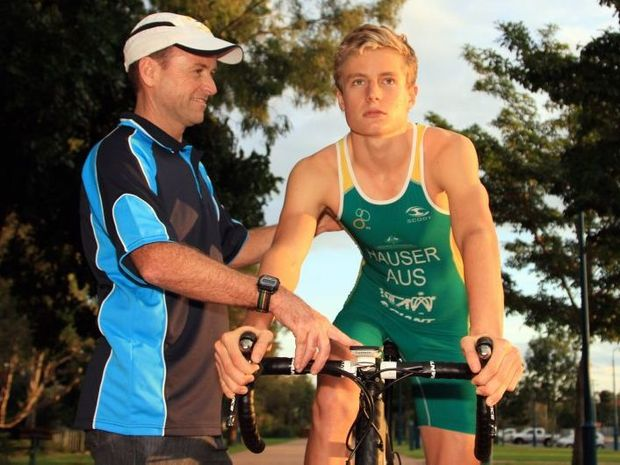 Matt Hauser, with couch Brian Harrington, will benefit from the first Fraser Coast Triathlon in May next year. Matt is the only Australian competitor travelling to China for the Junior Olympics.