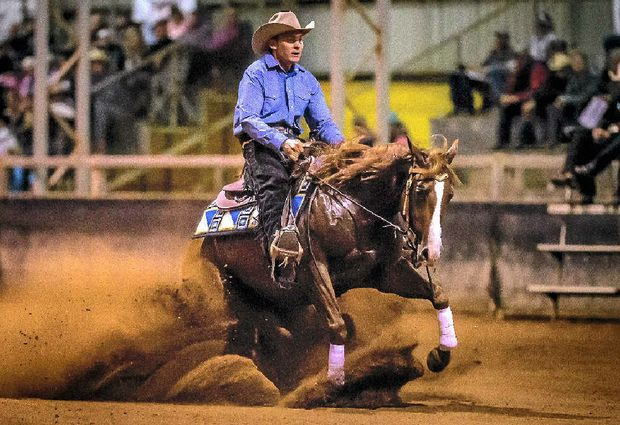 LOOKING GREAT: Shaun Saunders riding Condor Smart Play, owned by Susan Donald, for 75.5pts to win the Pacific Coast Reining Spectacular Open Futurity.