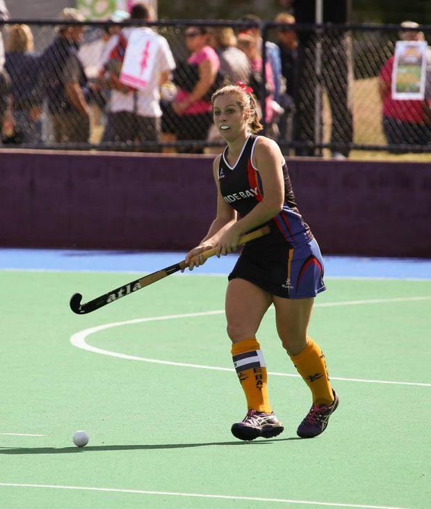 PREMIER TEAM: Wide Bay Thunder's Bec Kirchner playing at the State Premier League, Wide Bay took the title with a 3-2 win over Brisbane Blitz. Photo Andrew Blanchard