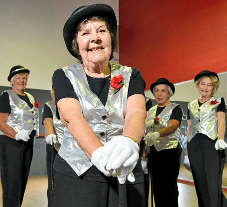 STILL DANCING TO THE BEAT: The Tap Katz, with oldest member Peggy Shelton in the foreground, are looking for new members.