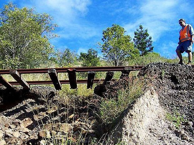 Train tracks in disrepair on the Northern Rivers. Photo The Northern Star Archives