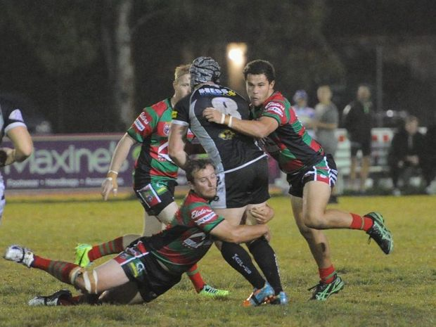 Seagulls player Daniel Kirk (right) starred in his A-grade debut against Easts on Saturday night.