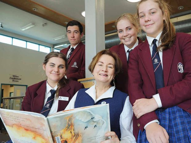 Australian author Jackie French with Year 11 students, (back) Corey Colfs, Erin Carson, Sinead Jacobson, and (front) Jenna-Leigh Fuller at Fraser Coast Anglican College.