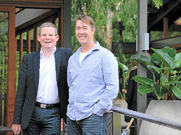 TOP DESTINATION: Jetstar Australia and New Zealand CEO David Hall and Destination Byron president, Cameron Arnold at the Byron at Byron resort.