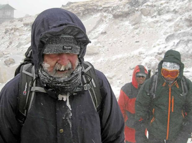 ICY CONDITIONS: Buderim's Joe McCreith, 66, at Mt Everest base camp.