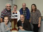 With the perpetual trophy in the girls' honour are (back from left)Graham Richter, May Richter and family friend Gary Appleton, Pam Mylonas and (front from left) Kellie Richter and Jimmy Mylonas.