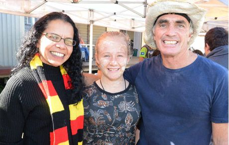 Friends Tina Williams, Taleah Jeffrey and Tony Rice at the indigenous cultural day at Lowood.