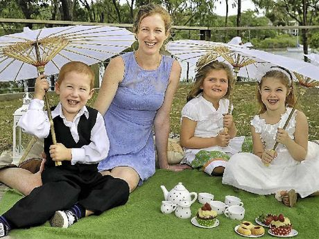 TEA FOR MANY: Tannum Sands Kindergarten will host a garden party, as displayed by Bradley Cheetham, 4, Nell Cheetham, Ruby Rae, 4, and Sian Downey, 4.