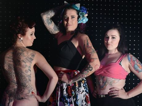 INK LINK: Ro-An Ferguson, Brittany Chapman and Jade Halley entered the Tattooed Dolls 2014 Pageant at Club Metro on Saturday night.