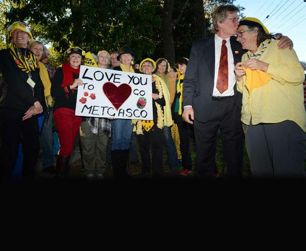 GAS ON HOLD: The Knitting Nannas celebrate with Lismore councillor Simon Clough after the decision to suspend Metgasco's exploration licence at Bentley was upheld in June
