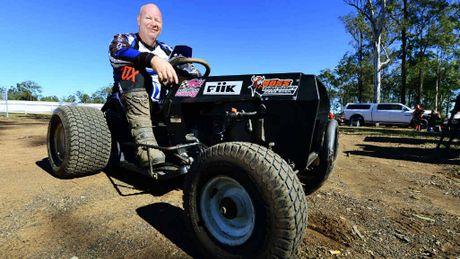 Club president Rob Kirkwood astride his mower.