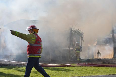 A house fire in Mudjimba. Photo: John McCutcheon / Sunshine Coast Daily