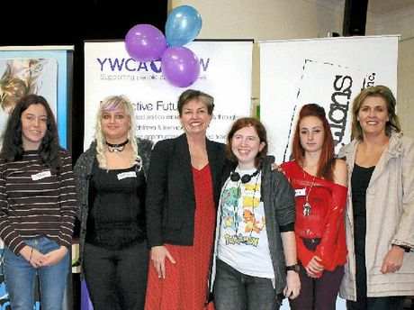 UPSKILLING: Natasha Jackson, Bethanie Thompson, NSW YWCA CEO Anna Bligh, Kayleen Johnson, Chloe Morris and Karen Hogan at the Community in the Kitchen program graduation.