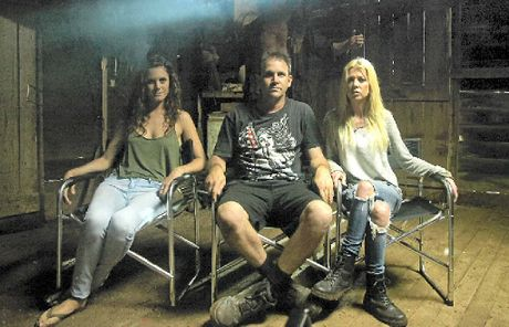 SCREAM TEAM: Filmmaker Chris Sun with actors Allira Jaques and Tara Reid, and Nathan Jones hiding in the backround as Charlie.