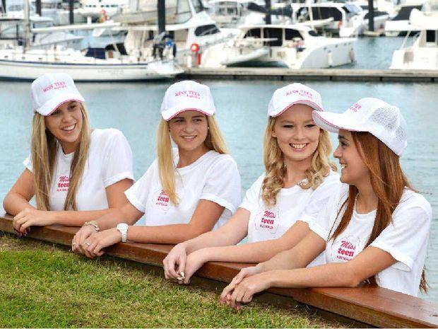 Miss Teen Australia Qld State manager Brooke Thompson with Miss Teen Australia entrants Clare Nixon,Tarnee Heidke and Teagan Tramacchi.