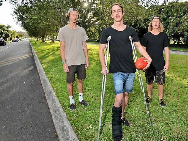 COULD HAVE BEEN KILLED: Haydyn Cliff is still in recovery mode after being hit by a car on Dalton Dr, Maroochydore, a month ago. William Wilkie and Baiden Howard were with him at the time.