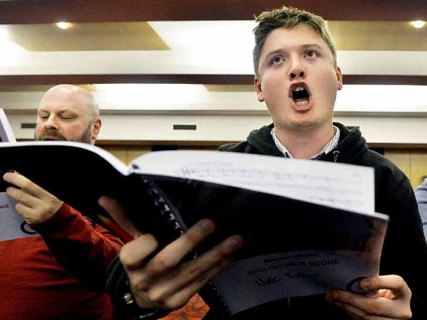 BIG CHANCE: Tenor Nick Kirkup sings during a Project Puccini rehearsal at the Ipswich Civic Centre last week.