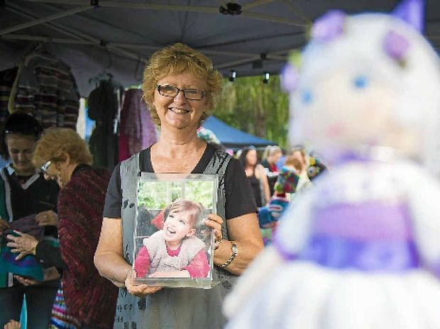Robyn Crosthwaite crochets her wares to raise money for her granddaughter's treatment.