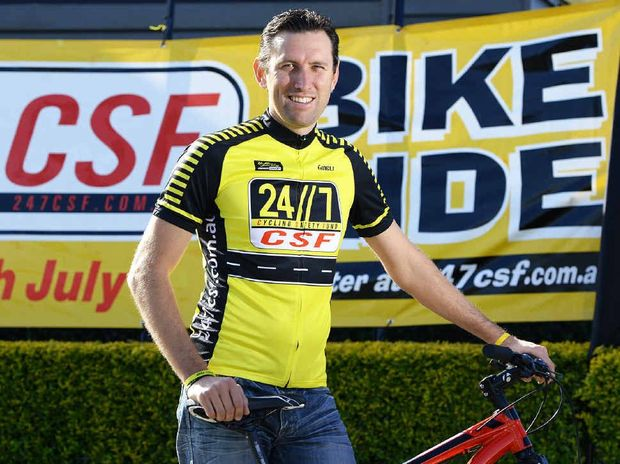 INSPIRATION: Troy Dobinson promotes the 24/7 CSF Community Ride taking place from Bill Paterson Oval on Sunday.