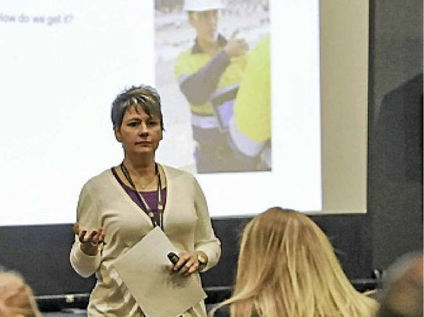 Barbara Rusinko, senior vice president of Bechtel QCLNG, leads a seminar at the Women's Leadership Conference.
