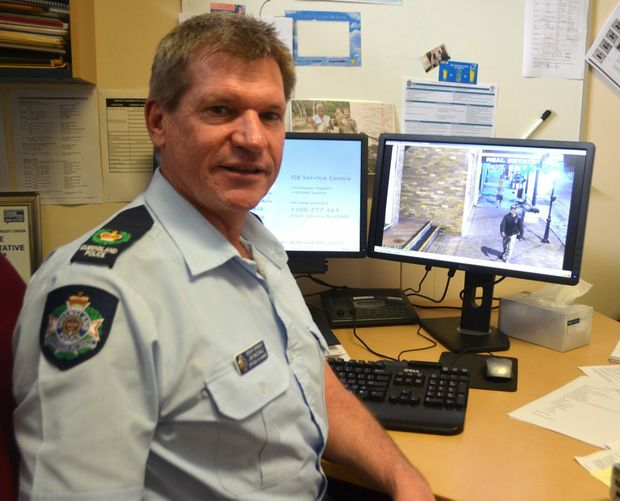 Laidley police officer-in-charge Senior Sergeant Jim McDonald with the CCTV footage of the first person to be charged using the technology since it was turned on in the Laidley CBD.