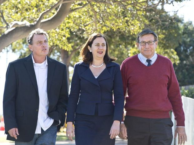 Graham Storey, ALP candidate for Toowoomba South, Opposition Leader Annastacia Palaszczuk and Kerry Shine, ALP candidate for Toowoomba North.