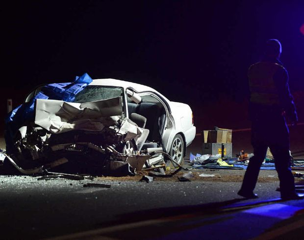 FATAL CRASH: A 40-year-old local woman died in a head-on collision on the Bruce Hwy near Waddell Rd on Tuesday night. Hers is the third death on the Bruce Hwy near Gympie in three weeks. PHOTO: CRAIG WARHURST