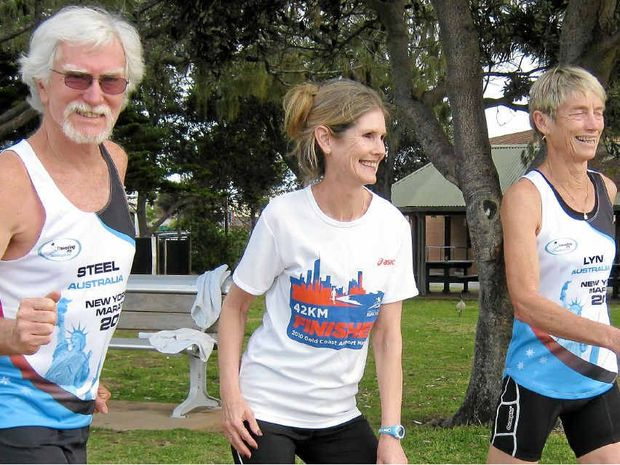 FIT AND EAGER: Robina Unwin (centre) offers encouragement to iconic northern beaches athletes Steel Beveridge and Lyn Fulton. Photo: Kue Hall