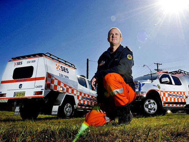 READY TO ROLL: SES Richmond Tweed Area learning and development officer Matthew Armour with two of the newly arrived vehicles.
