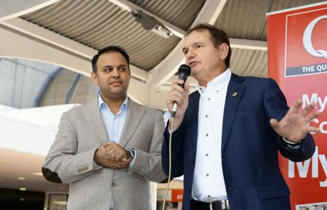 The Queensland Times ' Stand Against Racism Rally' held in the Ipswich Mall on Saturday. addresses the crowd. Business owner Rajesh Sharma and Ipswich mayor Paul Pisasale. Photo: Rob Williams / The Queensland Times